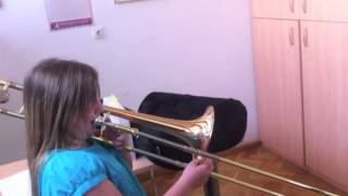 10 years girl playing trombone, beautiful tone