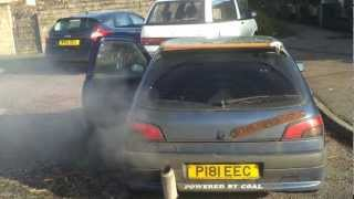 306 d turbo cold start with dead glowplugs blowing smoke rings