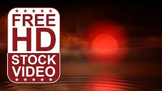 FREE HD video backgrounds | night sky with large moon over water with mist seamless loop animation