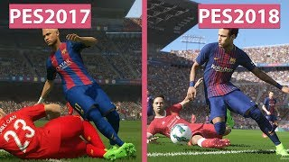PES | Pro Evolution Soccer 2017 vs. 2018 Screenshots & Trailer Graphics Comparison