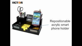 Victor 9525-5 - Midnight Black Desk Organizer with Smart Phone Holder