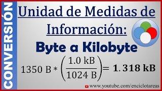 Convertir de Byte (B) a Kilobyte (kB)-  (B a kB)