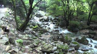 Calming stream water flowing down from Yongmun Mountain