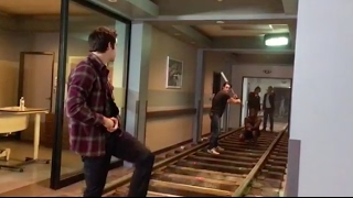 Dylan O'Brien, Dylan Sprayberry & Ryan Kelley playing baseball on Teen Wolf set