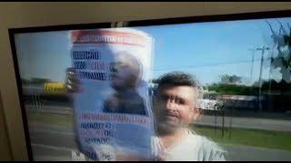 """Urgente: Militantes invadem transmissão da globo com cartaz """"Liberdade para Lula"""""""