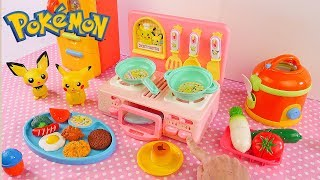 Cooking w/ Pokemon toy kitchen - Velcro Food Cutting Fruits and Vegetables Toys for Kids