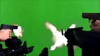 Guns Shooting Green Screen (Long Version)