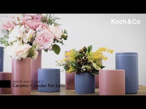 Ceramic Cylinder Pot Satin Matte Jacaranda (10x25cmH)