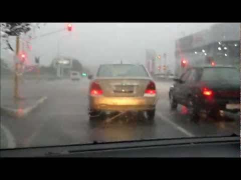 Driving in a rain storm in Johannesburg, South Africa