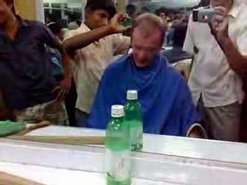 Nick Redmayne gets a haircut.. in Bangladesh