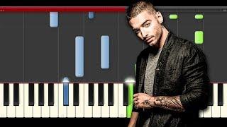 Maluma Borro Cassette Piano Midi Tutorial sheet partitura Cover Karaoke