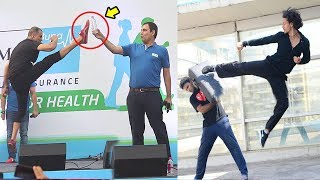 Akshay Kumar Vs Tiger Shroff Karate STUNTS In Public - Who Is Better width=
