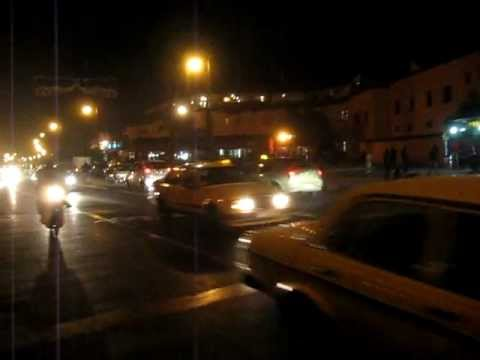 Crazy steet crossing in Marrakech, Morocco