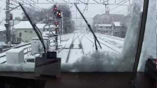 大雪の京急・金沢八景~新逗子 前面展望(2013年1月14日)