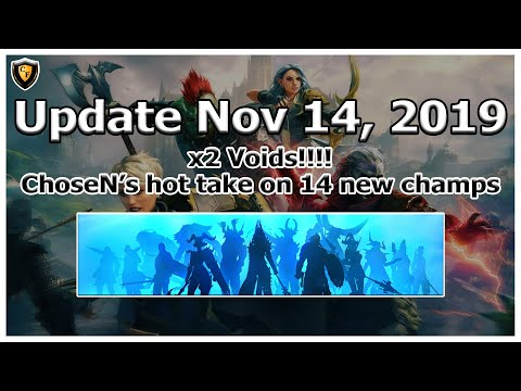 RAID Shadow Legends | Community Update | Nov 14, 2019 | x2 Voids!! My take new champs being released