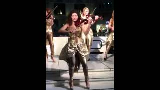 Superb performances of a female violinist group performs @