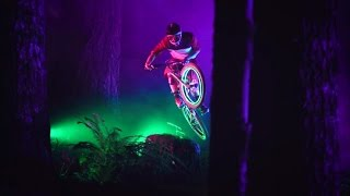 Amazing Mountain bike Downhill at night in forest with led light