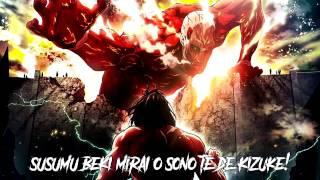 """Attack on Titan Season 2 Opening HD   """"Shinzou wo Sasageyo"""" by Linked Horizon + Lyrics"""