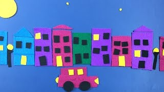 Collage with Felt material - simple arts and crafts idea for kids