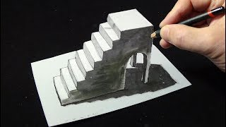 Drawing Stairs with Pencil and Markers - 3D Trick Art by Vamos