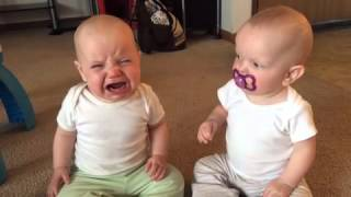 Twin baby girls fight over pacifier