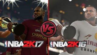 NBA 2K17 vs NBA 2K16 Finals Celebration Comparison Feat. Cavs