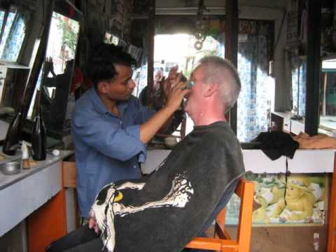having a shave in nepal
