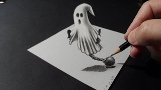Artistic 3D Drawing, How to Draw 3D Ghost, 3D Art Graphic