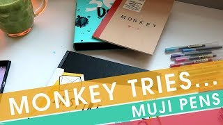 Monkey Tries Art Supplies - Muji Pens, Muji notepad and Inspire Me SketchbooK!
