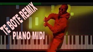 Te Bote Remix - Casper, Nio García, Darell, Nicky Jam, Bad Bunny, Ozuna-PIANO MIDI
