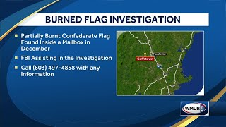 Partially burned Confederate flag found in mailbox