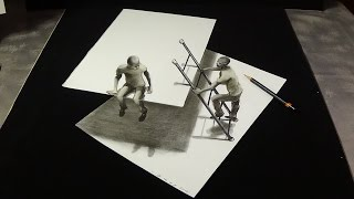 New View 3D Drawing on Paper - Trick Art Figures & Ladder - Impossible Drawing on Paper