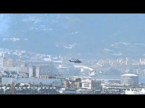 Helicopter takes off from Ceuta in Spanish Africa