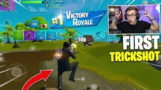 I hit my FIRST TRICKSHOT of Chapter 2 on FORTNITE MOBILE (too easy)