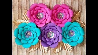 Giant Paper Flower | How To Make  Diy Rose Tutorial (Large Size Paper Rose) width=