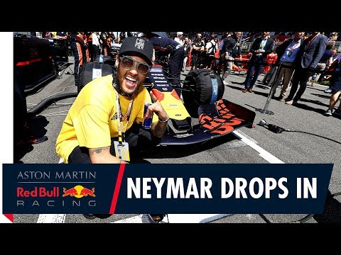 Neymar in the Holzhaus with Red Bull Racing at the Spanish Grand Prix