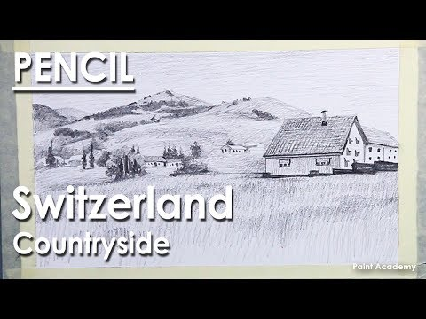 Pencil Drawing Landscape : Switzerland Countryside