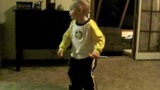 2 year old dancing and shaking his booty to daddy's rock music