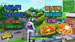 ASMR Gaming | Fortnite Mukbang Eating Fish and Chips Commentary 먹방 🎮🎧 Relaxing Whispering😴💤