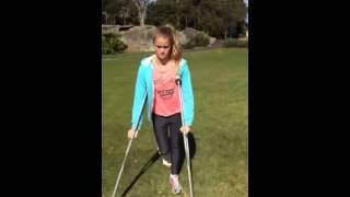 Kids at Botanical Gardens, Monty on crutches July 2014