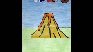 Vulcão em erupção e formação das rochas magmáticas