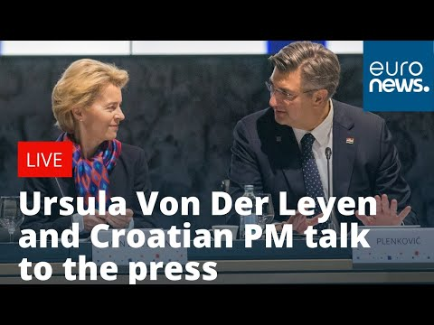 Ursula Von Der Leyen and Croatian PM Andrej Plenkovic talk to the press | LIVE photo