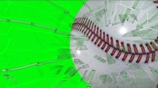 Baseball Breaking Glass on Green Screen