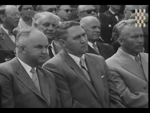 S:t Eriksmässan 1955 - Tage Erlander öppnar Stockholmsmässan