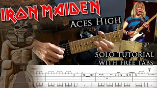 Iron Maiden - Aces High Dave Murray's solo lesson (with tablatures and backing tracks)