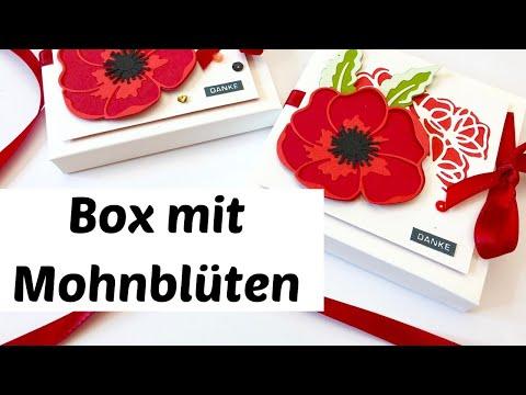 DIY-Geschenkverpackung-Deko nur mit Stanzformen Mohnblüten-Anleitung