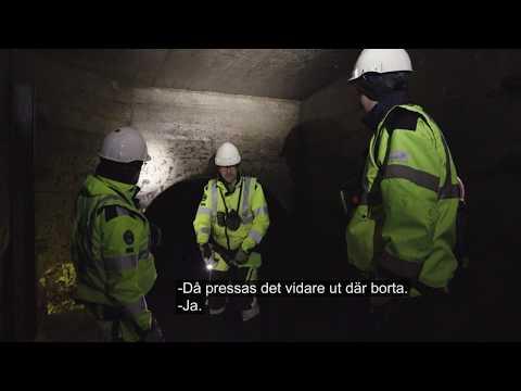Anders och Måns på besök i ett underjordiskt dagvattenmagasin