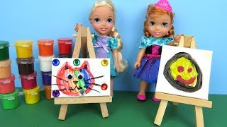 Art CLASS ! Elsa and Anna toddler at School - Barbie is teacher - Paintings - Colors