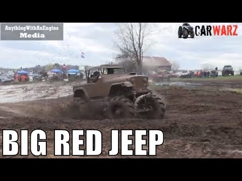Big Red Jeep Running Wild At Country Boys Spring Mud Bog 2019