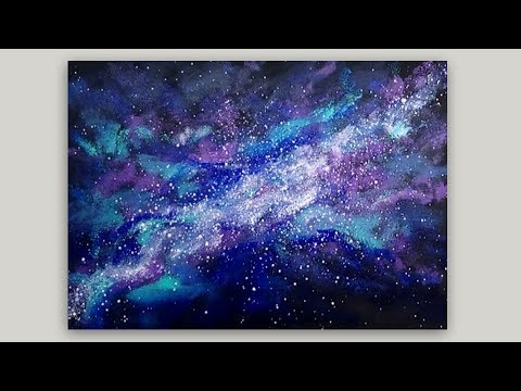 Sponge Painting a Galaxy with Acrylic Paint  - Easy Sponge Painting Technique